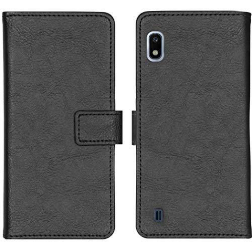iMoshion kompatibel mit Samsung Galaxy A10 Hülle – Luxuriöse Handyhülle – Handytasche in Schwarz [Mit Ständer, Platz für 3 Karten, Magnetverschluss]