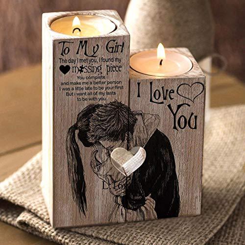JiYanTang Candelabros artesanales de Madera en Forma de corazón, decoración del Día de San Valentín, Regalo para mi niña, candelabro, Estante, decoración del hogar