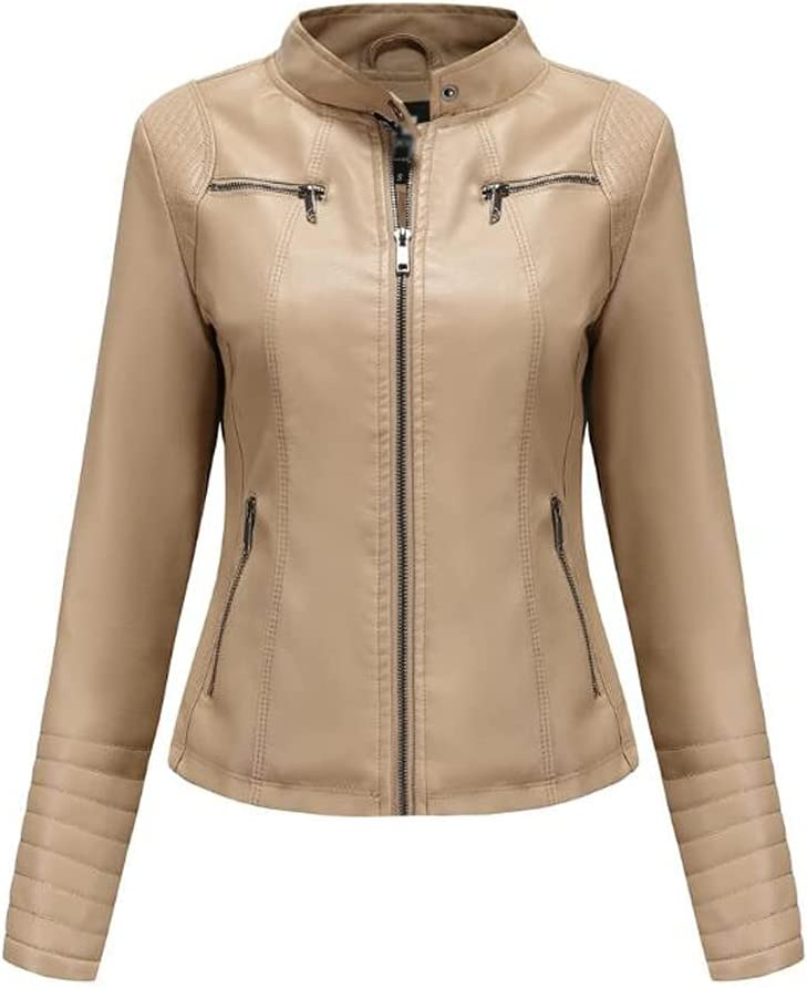 CDQYA Leather Jacket Women's Leather Spring and Autumn Jackets Ladies Motorcycle Large Size Stand Collar Leather Jacket Jacket Female (Color : Apricot, Size : M Code)