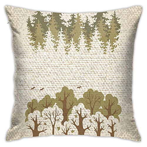 FULIYA Abstract Art Decorative Pillow Cover 18x18,Trees On Weathered Background Fall Season Environment Inspirations Print,Square Pillowcase for Living Room/Car