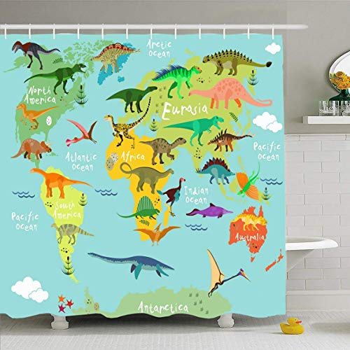 Changchuan Shower Curtain Evolution Cute Dinosaurs