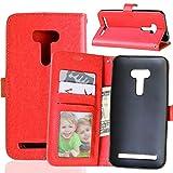 Fatcatparadise Kompatibel mit Asus ZenFone Selfie ZD551KL Hülle + Bildschirmschutz, Flip Wallet Hülle mit Kartenhalter & Magnetverschluss Halterung PU Leder Hülle handyhülle (Rot)