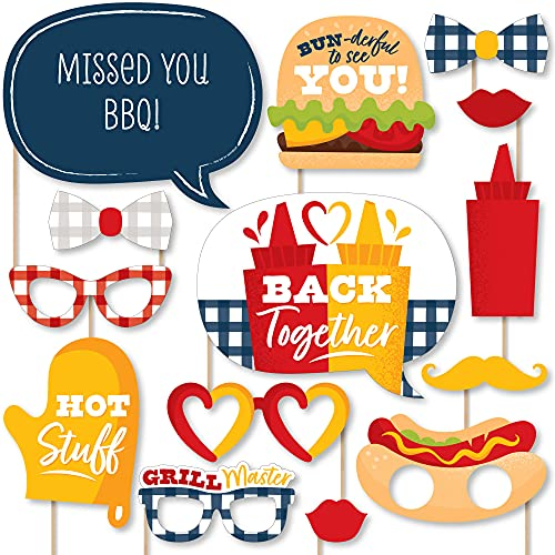 Big Dot of Happiness Missed You BBQ – Backyard Summer Picnic Party Photo Booth Props Kit – 20 Count