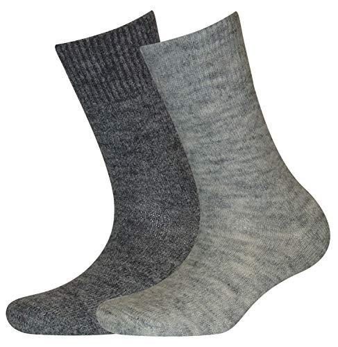 Sympatico 2 Paar Damen Söckchen MOHAIR Farbe hellgrau und grau, Größe 35-38