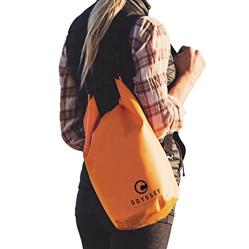 ODYSSEY Waterproof Roll Top Dry Bag w/Free Water Proof Cell Phone Case (Coast Guard Orange, 10 Liters)