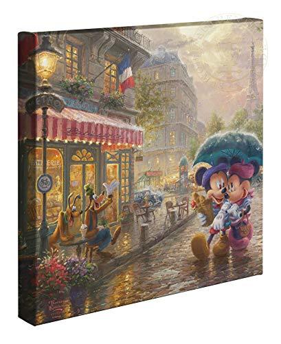 Thomas Kinkade Studios Disney Mickey and Minnie in Paris 14 x 14 Gallery Wrapped Canvas