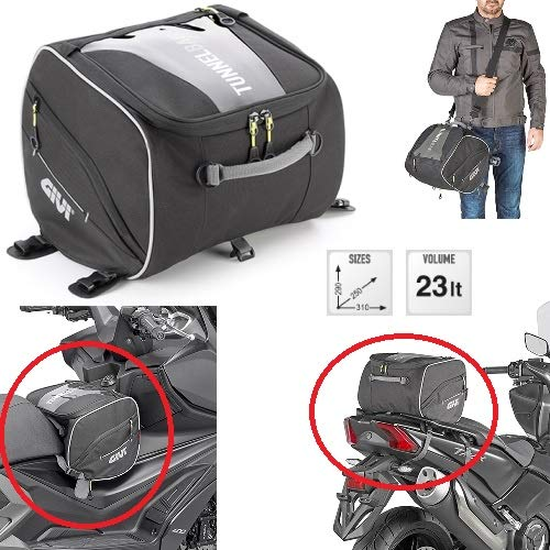 Compatibel met BMW C 600 sporttas o Tunnel Givi EA122 zwart 23 liter tas voor motorfiets scooter Maxiscooter universele 290X250X310 mm ZAINO met MANIGLIA, TRACOLLE
