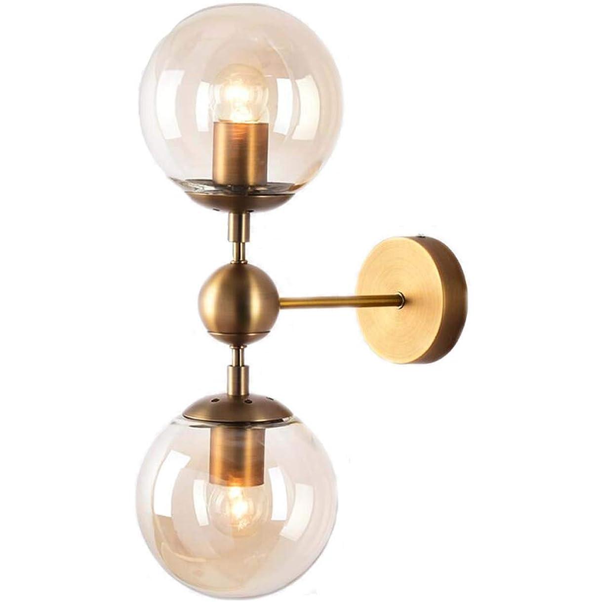 化学者トランクシニスマジックビーンウォールランプ、ガラス玉ランプシェード付き北欧クリエイティブアイアンウォールライト、ベッドルームベッドサイドランプミラーヘッドライト、E27 (Color : B)