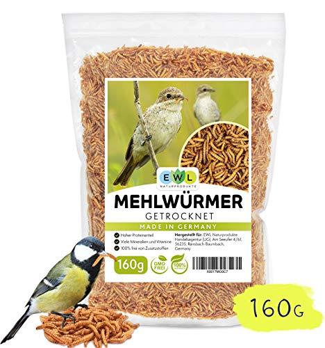 EWL Naturprodukte Mehlwürmer getrocknet 160g Insektensnack für Vögel, Fische, Schildkröten, Nager und Reptilien