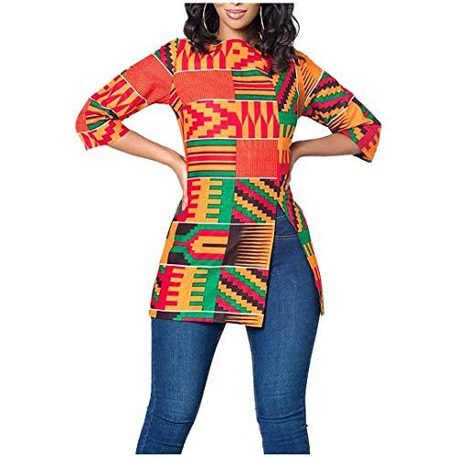 Jascaela Women's Boho African Print 3/4 Sleeve Tops Loose Tunic Round Neck Dashiki Ankara Shirt Blouse(Red-M)