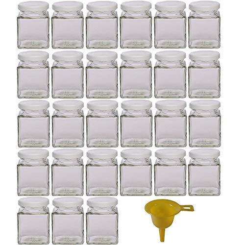 Viva-artículos de Uso doméstico - 27 tarros de Mermelada pequeños 106 ml con Tapa de Color Blanco/para confituras, Especias, Sales, aceites - Incluye Embudo
