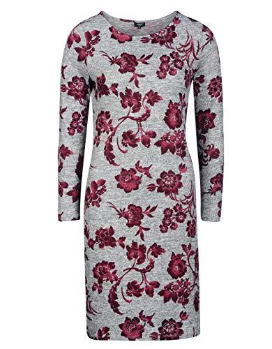 Bexleys Woman by Adler Mode Damen 1 TLG. Kleid grau-Melange/weinrot 44