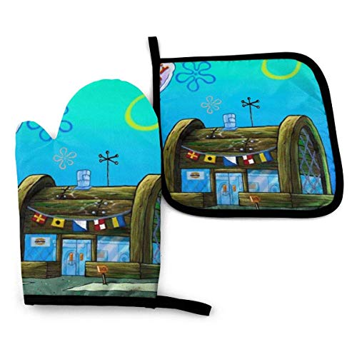 HGFK SpongeBob Schwammkopf Krusty Krabbenofenhandschuhe und Topflappen-Sets Hängende Ofenhandschuhe Topflappen 2-teiliges Set, für die Küche rutschfeste hitzebeständige Grill-Grill-Backmaschine Grill