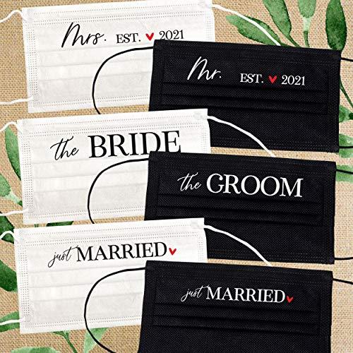 Mr. and Mrs. Wedding Masks - Disposable Face Masks (Set of 6)