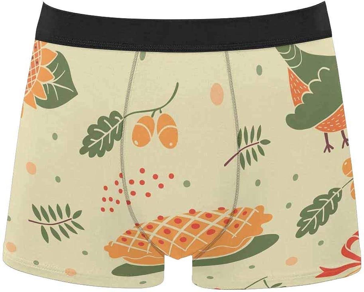InterestPrint Men's Lightweight Breathable Boxer Classic Briefs Underwear Thanksgiving Pumpkin Leaf