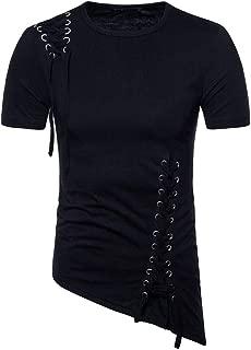 RAINED-Men's New T-Shirt Short Sleeve Irregular Hem Knitting Rope Blouse Polo Soft Slim Fitted Sweatshirt Casual Tops