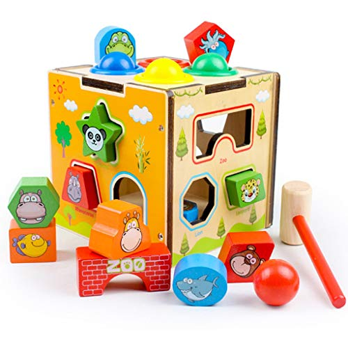 Fantastic Deal! BJLWTQ Children's Educational Toys Intelligence Box Shape Sorting Cube Cognitive and Matching Wooden Building Blocks