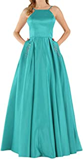 Botong Halter Satin A Line Prom Bridesmaid Dresses Long Beaded Evening Party Gowns with Pockets
