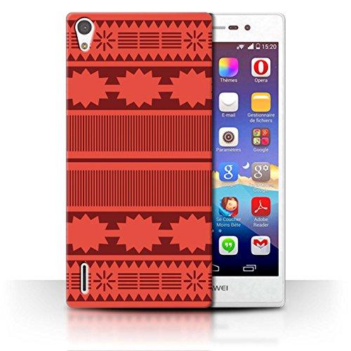 Stuff4 Hülle/Case für Huawei Ascend P7 LTE/Aztek/Prinzessin Kleid Muster/Karikatur Polynesische Prinzessin Kollektion