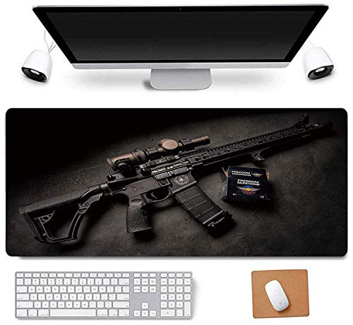 31.5x11.8 Inch Cool Legend Black Mamba Kobe Non-Slip Rubber Extended Large Gaming Mouse Pad with Stitched Edges Computer Keyboard Mouse Mat PC Accessories (24-Gun Black)