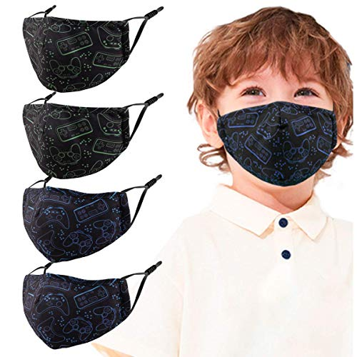 Kids Face Reusable Mask Washable, 4 Pack Toddler Child Children Blue Handle Cute Cloth Cotton Masks Lanyard Gifts for Girls Boys, Comfy Breathable Outdoor Fabric Cover Protects Fashion Design