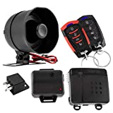 DS18 18SPORT 1-Way Car Alarm Security & Keyless Entry System w/2 Transmitters w/ 4 Button Remote Door Lock Status Indicator LED w/Sensor Bypass Valet Override Switch, Trunk Pop, 2 Auxiliary Outputs
