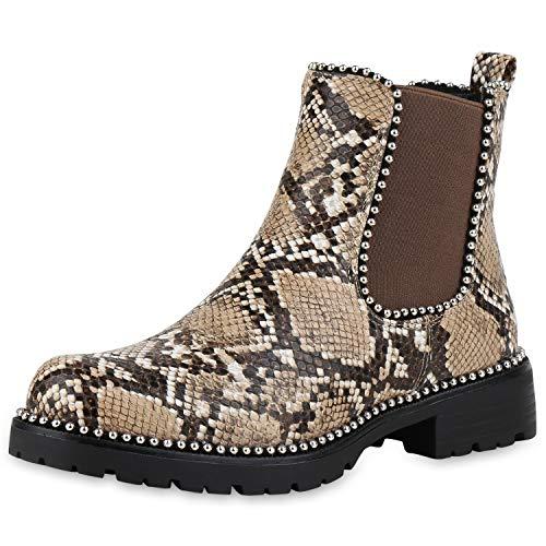 SCARPE VITA Damen Stiefeletten Chelsea Boots Leicht Gefütterte Snake Print Schuhe Blockabsatz Booties Ketten 186204 Khaki Tan Snake 38