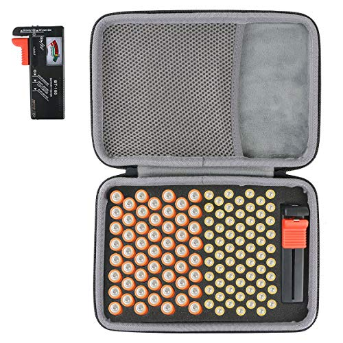 co2crea Hard Travel Case for Household Batteries AA Double A/AAA Triple A Everyday Alkaline Battery, Hard Battery Organizer Storage Box, Carrying Case Bag Holder - Holds 116 Batteries