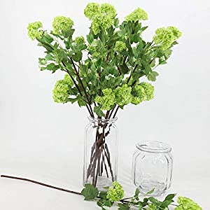 Artificial Flowers Artificial Flower Bouquets Snowball Flower for Wedding Bouquet Decor or Home Room or Birthday Garden Party Floral Decor DIY Decoration 5 Sticks-Green