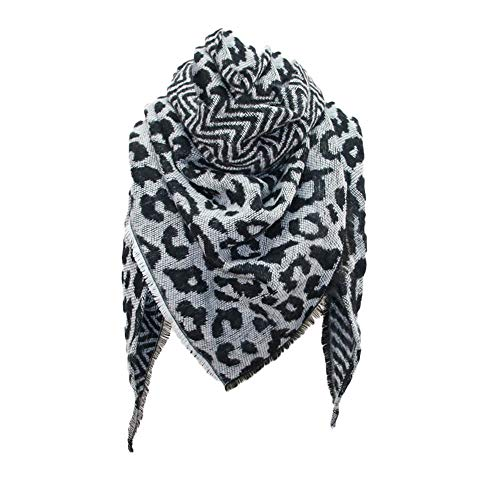 Lenfesh Bufanda flecos Mujeres Moda Bufanda con Borla Fular Chales leopardo Elegantes