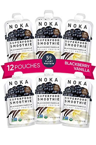 NOKA Superfood Smoothie Pouches (Blackberry Vanilla) 12 Pack | 100% Organic Healthy Fruit And Veggie Squeeze Snack Packs | Meal Replacement | Non GMO, Gluten Free, Vegan, 5g Plant Protein | 4.2oz Each