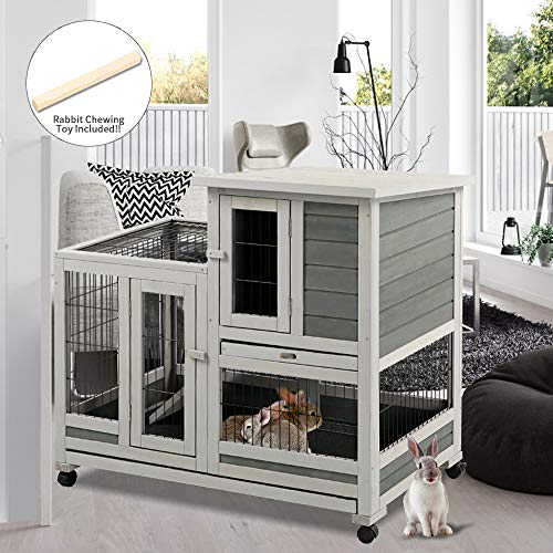 oneinmil Rabbit Hutch Indoor Bunny Hutch with Run Outdoor Small Animal Cage with Two Deeper No Leak Trays - 4 Casters Include