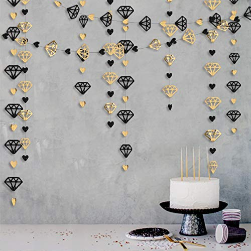 52Ft Black Gold Diamond Heart Hanging Garland Double Sided Glitter Metallic Paper Streamers Banner for Bachelorette Engagement New Years Eve Bridal Shower Graduation Birthday Valentines Day Decoration