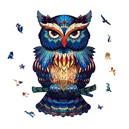 Wooden Puzzles for Adults - Owl Puzzle Wooden Jigsaw Puzzles for Adults, Unique Animal Shaped Puzzles, Family Game Best Gift for Adults and Teens, 200 Pieces, 7.8 Х 12.9 Inches