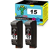 YATUNINK Remanufactured Ink Cartridge Replacement for HP 15 C6615D (2 Black , 2 Pack )