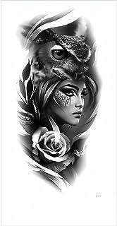 Tijdelijke Tatoeages 3 Vellen Waterdichte Tijdelijke Tattoo Sticker Black Rose Grote Schedel Spider Mechanische Mermaid Bo...