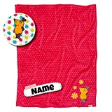 DIE Maus Babydecke mit Namen Bestickt | Babydecke personalisiert | kuschelig weich | 2 Varianten (Rot)