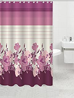 BH Home & Linen Premium Canvas Fabric Shower Curtain with Garden Leafs,Geometric Designs,Patterns and Trailing Vines Made with 100% Polyester. (Rosanna Rose)