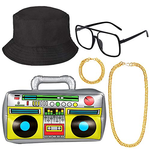 Auihiay 5 Pieces 80s/90s Hip Hop Costume Kit Cool Rapper Outfits Accessories with Inflatable Radio Box, Cotton Bucket Hat, Gold Chain, Gold Bracelet, Sunglasses