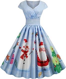 YYLZA Christmas Santa Claus Print Women Vintage Dress Short Sleeve V Neck Swing Party Dress