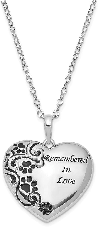 925 Sterling Silver Antiqued Pet Ash Holder 18in Necklace