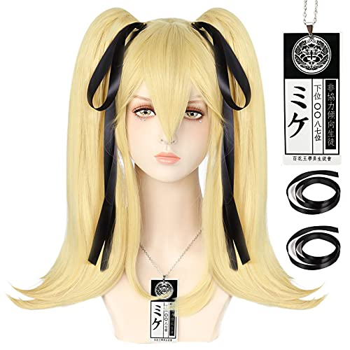 Ebingoo Two Ponytails Wig with 2 Black Ribbons for Cosplay Anime Cosplay Wig Synthetic Wig For Costume Halloween Movie for Women
