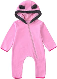 Baby Winter Clothes Iuhan Infant Girls Boys Cartoon Ears Hoodie Romper Zip Jumpsuit