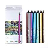 Set de 12 colores profesionales lápices de colores Set de lápices de colores de madera de dibujo lápices de pintura de pintura de arte escolar suministros para niños y jóvenes artistas