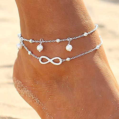 Zoestar - Tobillera doble, de plata, con perlas, estilo bohemio, pulsera para el tobillo, cadena con cuentas, para pie, joyería, para mujeres y niñas