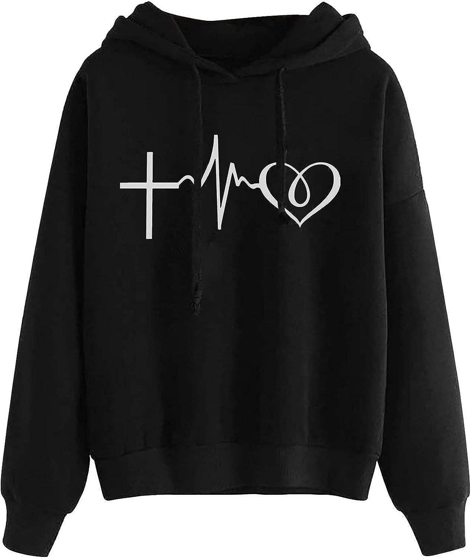 Teen Girls Cute Graphic Hoodies Sweatshirt Electrocardiogram Print Casual Long Sleeve Hooded Blouse Tops