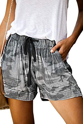 KISSMODA Summer Beach Shorts for Women Girls Camo Print Elastic Waist Pocketed Shorts L