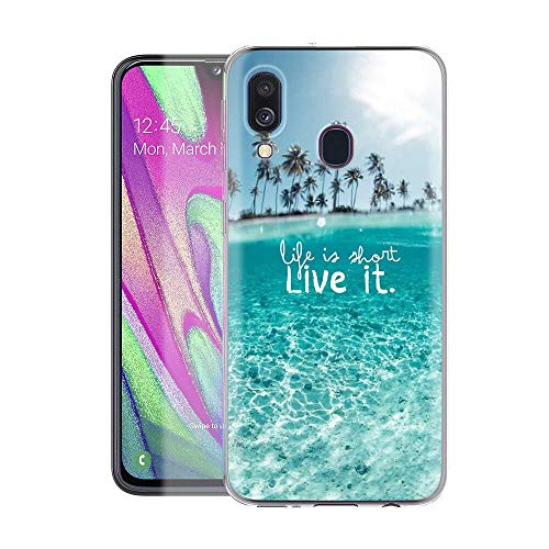 Pnakqil Funda Samsung Galaxy A40 Transparente Silicona Carcasa Ultrafina Suave Gel TPU Piel Antigolpes Protectora Bumper Case Cover Compatible con Teléfono Samsung GalaxyA40, Paisaje