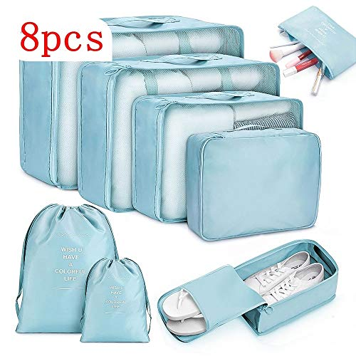 weichuang Storage bag 6/8pcs Waterproof Travel Bags Clothes Luggage Organizer Quilt Blanket Storage Bag Suitcase Pouch Packing Cube Bags Storage bag (Color : A1 8pcs)