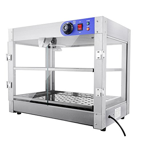 PNR 2-Tier 110V Commercial Countertop Food Pizza Warmer 750W 24x14x19' Pastry Display Case